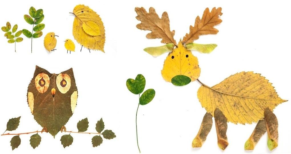 сухих картинки аппликации листьев из