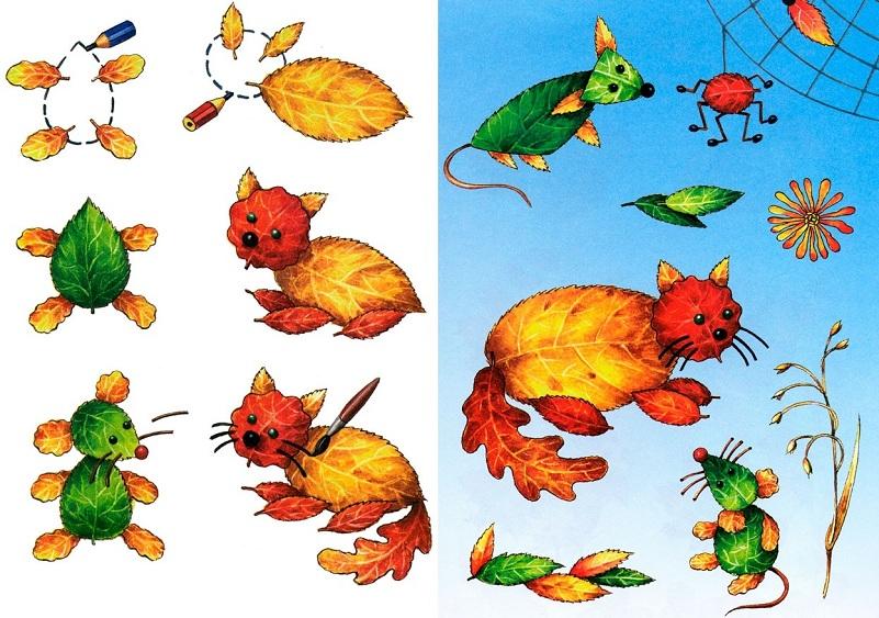 Аппликации из осенних листьев - идеи и МК