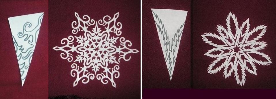 Снежинки из белой бумаги