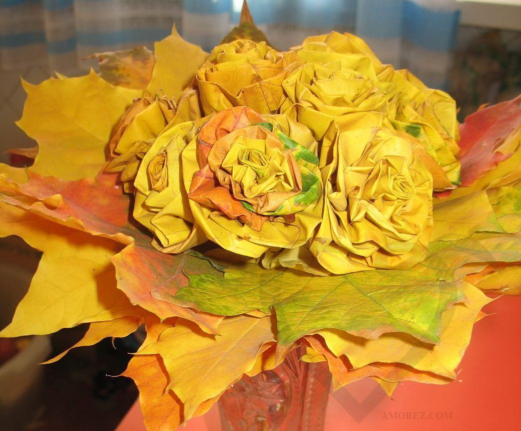 Цветы своими руками из осенних листьев